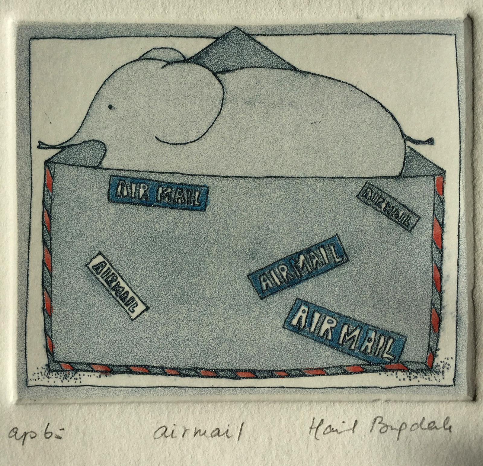 Airmail, etching, Harriet Brigdale