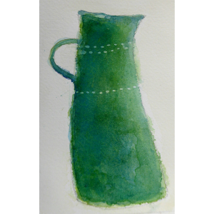 Green jug watercolour, Harriet Brigdale