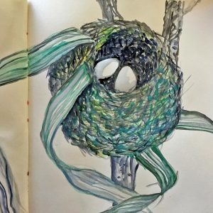 Sketch book nest, Harriet Brigdale, Artist