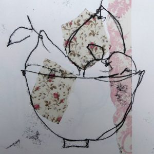 Bowl with pears, mono-print,Harriet Brigdale, Artist