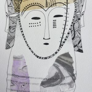 Mask and collage, Drawing, Harriet Brigdale, Artist