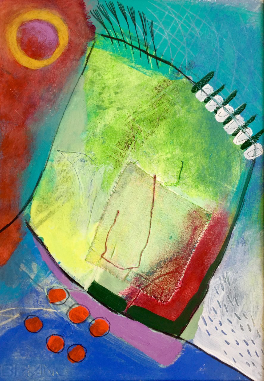 Red sun and yellow, Abstract, Harriet Brigdale, Artist