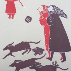 Two sisters, Lino Print, Harriet Brigdale, Artist