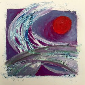 Red Sun, oil and mono-print., Harriet Brigdale SGFA, artist