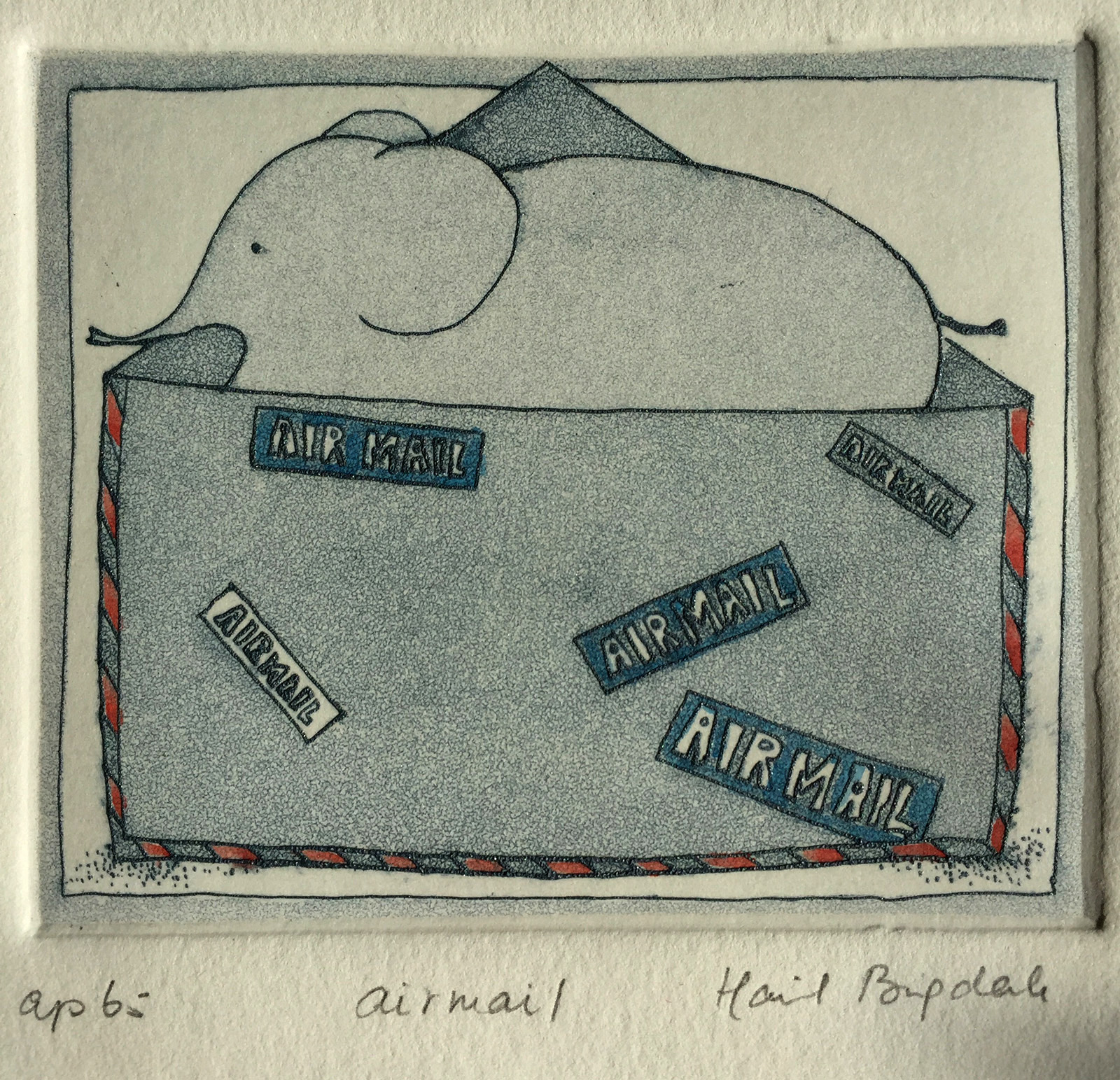 Airmail, etching, Harriet Brigdale