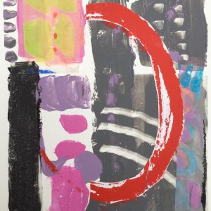 Half red circle on grey, abstract, Harriet Brigdale, Artist