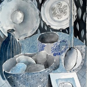 Blue still life, watercolour, Harriet Brigdale, Artist
