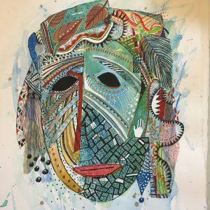 Shell mask, Drawing, Harriet Brigdale, Artist