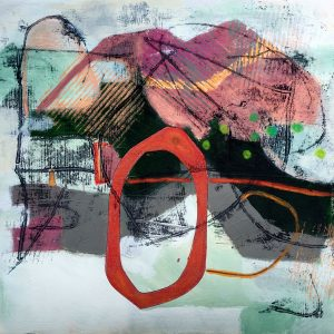 Red Circle, Abstract, Harriet Brigdale, Artist