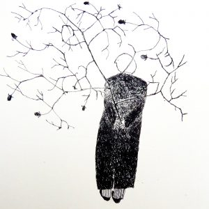Garden theft small rose twig, litho, Harriet Brigdale, Artist