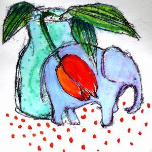 Small blue elephant, Harriet Brigdale, Artist