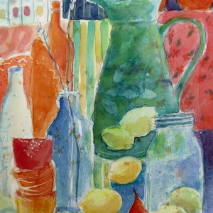 Still life with eggs, watercolour, Harriet Brigdale, Artist