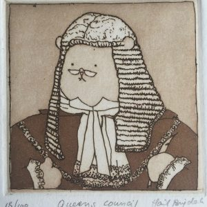 Queens Council, Harriet Brigdale, etching