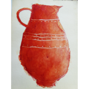 Red jug watercolour, Harriet Brigdale