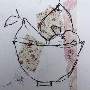 Bowl with pears, mono-print,Harriet Brigdale, Artist