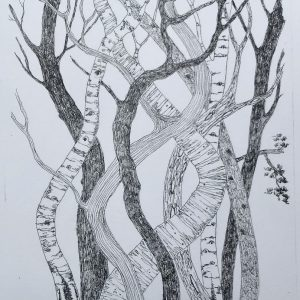 dancing trees. litho