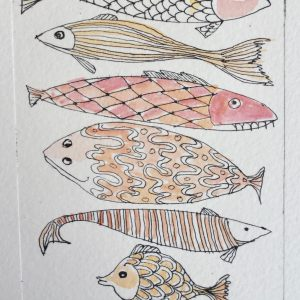Fish, litho, Harriet Brigdale, Artist