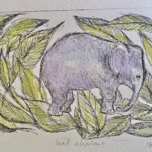 Leaf elephant, litho, Harriet Brigdale, Artist