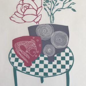 table and fish bowl lino