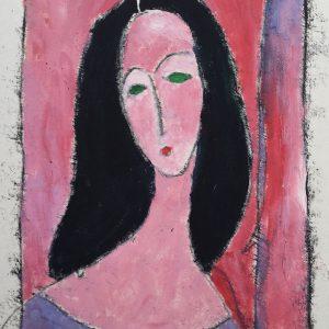 Harriet-Brigdale---Green-Eyed-Woman---oil-mono-print