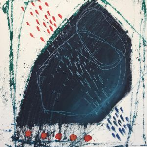 Black resting shape, mono print, Harriet Brigdale SGFA, artist