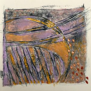 Mauve and gold, oil and mono-print., Harriet Brigdale SGFA, artist
